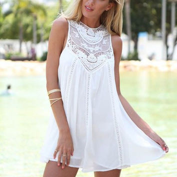 Women Lady Girls Female Designed Summer Casual Loose Sexy Charming Sleeveless Lace Patchwork O Neck Mini Sundress Dress White Gift 36