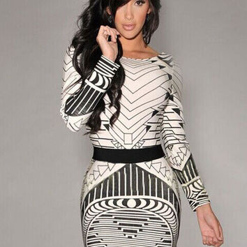 Off White Tribal Print Backless Long Sleeve Bodycon Mini Dress