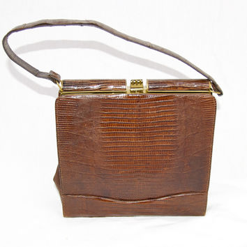 1960's Vintage Lizard Reptile Purse in Brown