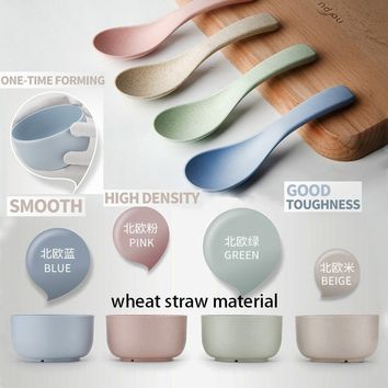 Children Soup Milk Rice Noodles Bowls and Spoon Kids Lunch Bowl Wheat Straw Set Kitchen Tableware(Random Color)
