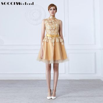 SOCCI Fashion short Gold Evening dress  High neck Lace flower bow Sashes sweet mother of bide dresses Formal wedding party gowns