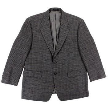 Vintage Houndstooth Sport Coat - Blazer Jacket Wool Ralph Lauren Grey Blue Preppy Ivy
