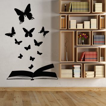 Vinyl Wall Decal Open Magical Butterfly Book Library Fairy Tale Stickers Unique Gift (1830ig)
