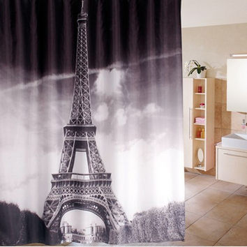180*180cm 1Pcs  Paris Shower Curtains Design  Water Resistance Fabric Polyester  Waterproof Home Bathroom Curtains