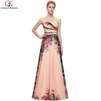 Long Prom Dresses Robe Grace Karin Strapless Chiffon Flower Pattern Floral Print Party Dress Prom Elegant Plus Size Formal Gowns