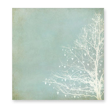 Canvas Art, Home Decor, Ready To Hang, Large Wall Art, Tree Silhouette, Blue, Mint, Beige, Soft White, Woodland- Tree of Love