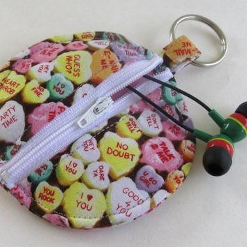 Conversation Hearts Circle Earbud Holder Pouch / Valentine's Day Coin Purse / Heart Ca