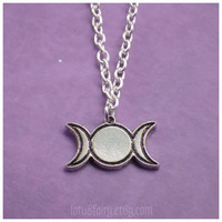 Moon phase Triple Goddess moon necklace pagan, wiccan jewelry