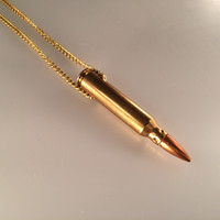 Bullet Necklace, Rifle Bullet Necklace, Remington Cartridge Necklace,Steampunk,