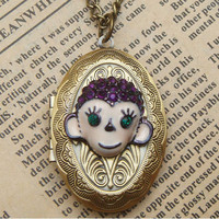 Steampunk MonkeyLocket Necklace Vintage Style by sallydesign