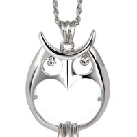 Owl Magnifying Pendant Necklace in Gold or Silver