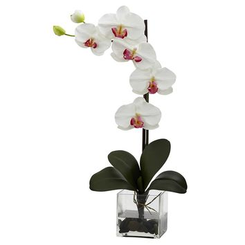 Silk Flowers -Giant Phal White Orchid With Vase Artificial Plant