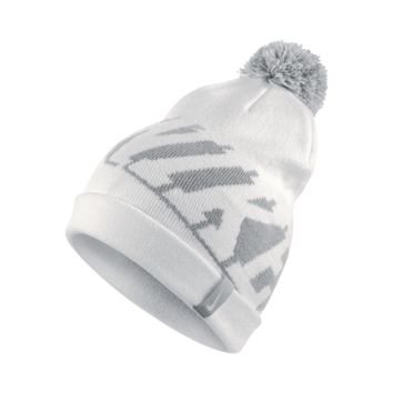 Nike Pom Beanie Kids' Knit Hat (White)