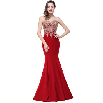 Backless Red Mermaid Lace Evening Dress