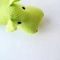 Hot-green polka dot fabric hippo. Cloth art toy. Little stuffed animal. Pretty doll.