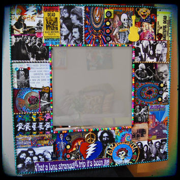 Grateful Dead mirror wall rock n roll hippie decor deadhead retro wall art 1960s jerry garcia bob weir phil lesh