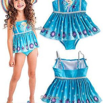 Licensed cool FROZEN ICE QUEEN ELSA SWIMSUIT W/PLEATED SKIRT GIRLS 1PC SIZE 5/6 DISNEY STORE