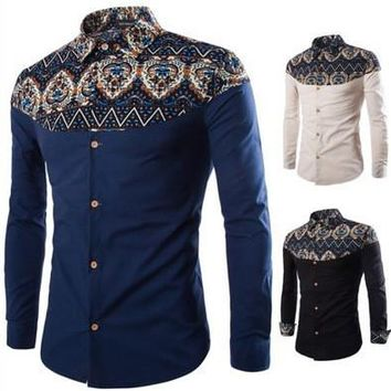 Fashion New Products Men Shits  National Characteristics Shirt Slim Fit Floral Shirt Long Sleeve Button Down Shirts C06