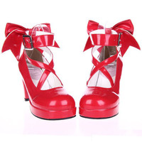 EU 33 - 52 [Cosplay Madoka] Lolita Princess Bow Platform High Heel Shoes SP130232