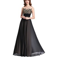 Lace Appliques Bridesmaid Dresses Long Patterns Floor Length Junior Prom Dress Black Bridesmaids Dresses for Wedding