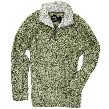 The Original Frosty Tipped Pile 1/2 Zip Pullover in Green by True Grit - FINAL SALE