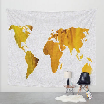 Wall Tapestry - Hanging Tapestry - Abstract Acrylic Painting Colorful World Map  – Color brown and blue - Art-Home decor-Made to order