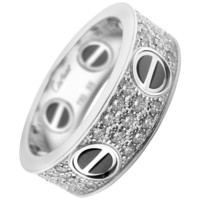 Cartier Love Diamond Paved Black Ceramic White Gold Band Ring