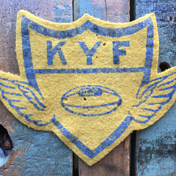 Vintage Felt Patch, KYF Kenosha Youth Football Patch, 1940s Felt Jacket Patch