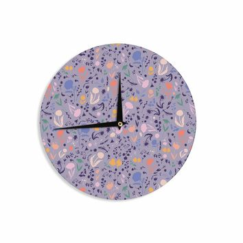 "Akwaflorell ""Pretty Little Flowers4"" Lavender Multicolor Illustration Wall Clock"
