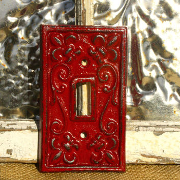Light Switch Cover/ Custom Colors/ Cherry Red Light Switch Plate Cover/ Shabby Chic Switch Cover/ Cast Iron Switch Cover