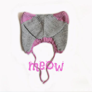 FREE SHIPPING cat hat, kitty hat, kids hat, baby hat, childrens hat