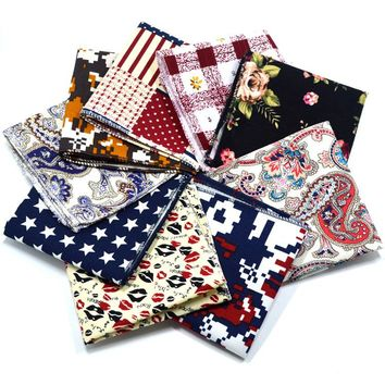 1 Piece Vintage Style Cotton Linen Handkerchief Floral Pocket Square Wedding Party 22*22cm Hankies Men's Brand Towel Casual