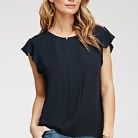 Pleated Flutter Sleeve Top