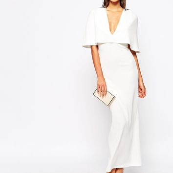 Club L Cape Overlay Maxi Dress In Crepe
