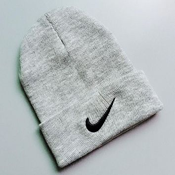 NIKE Autumn Winter Popular Couple Embroidery Knit Hat Warm Cap Grey