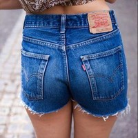 Vintage LEVIS DARK Blue Denim High Waisted SHORTS from Boutique 73