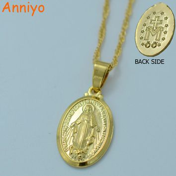 Anniyo Virgin Mary Necklace Trendy Gold Color Our Lady Women/Men Jewelry Wholesale Colar Cross Pendant Necklaces #010504