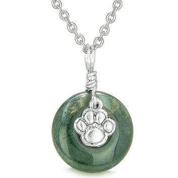 Small Wolf Paw Lucky Amulet Silver Gemstone Indian Agate Donut Courage Positive Pendant Necklace