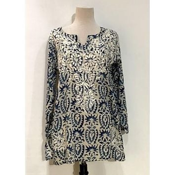 Cotton Tunic Embroidered Top Navy