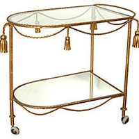 Gilded Rope & Tassel Bar Cart