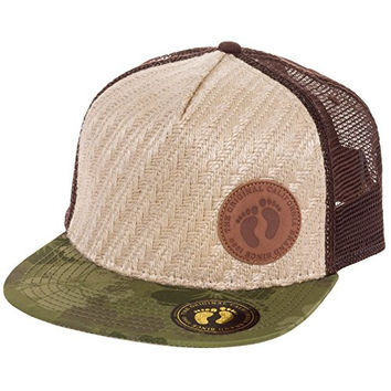 Hang Ten Mens Snapback Trucker Hat (Burlap w/ Tropic Camo Visor)