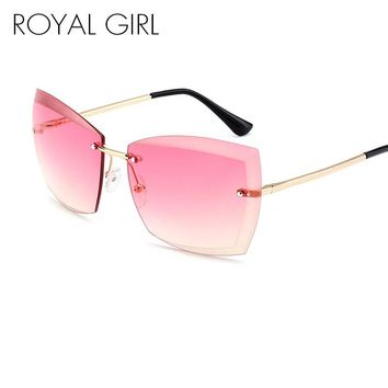 ROYAL GIRL Rimless Women Sunglasses Square Vintage Ombre 2017 Summer Glasses ss187