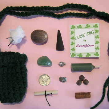Good Luck Medicine or Mojo Bag/Charm/Amulet w/SILVER Mercury Dime/Coin w/ Crystal, Iron Pyrite, Herbs, and More.