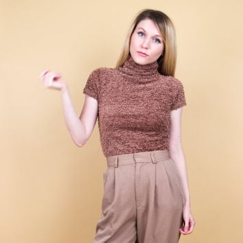 90's brown fuzzy turtleneck / fuzzy knit short sleeve turtleneck shirt / Vintage 1990s ditzy dolly minimalist grunge top shaggy blouse