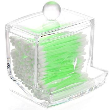 1x Clear Acrylic Makeup Cotton Swab Q-tip Storage Holder Box Cosmetic Make Up Case Tools Useful