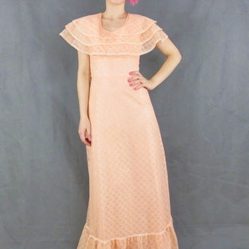 70s Peach Lace Maxi Dress Floral Daisy Lace Cape Dress Cut Out Back Pink Ruffle Prom Dress Crochet Lace Dress Spring Bridesmaid Gown (XS)