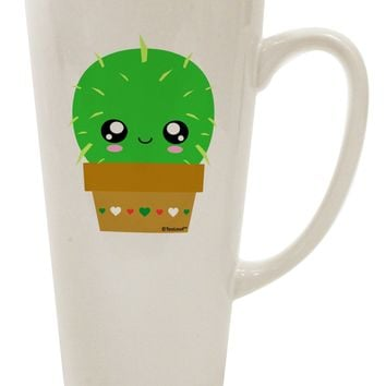 Cute Cactus Design 16 Ounce Conical Latte Coffee Mug by TooLoud