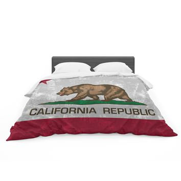 "Bruce Stanfield ""California Flag"" Gray Red Featherweight Duvet Cover"