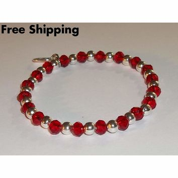 Red Swarovski Crystal Artisan Crafted Silver Stretch Bracelet