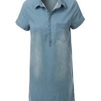 LE3NO Womens Loose Short Sleeve Denim Jean Dress (CLEARANCE)